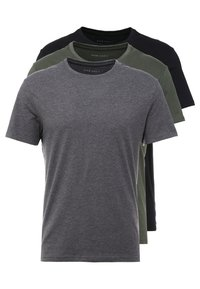 Pier One - 3 PACK - Camiseta básica - black/grey/green - 0