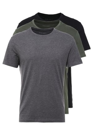 3 PACK - T-shirt - bas - black/grey/green