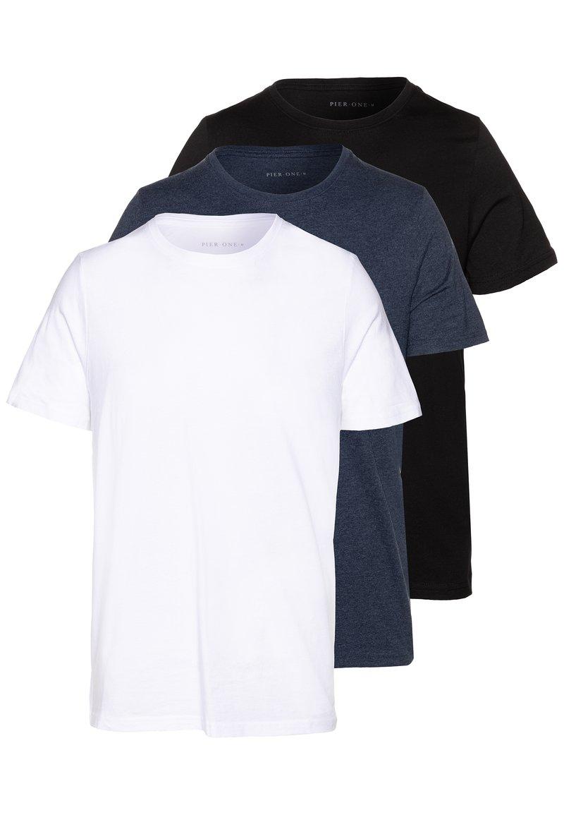 Pier One - 3 PACK - T-shirt basic - black/white/blue