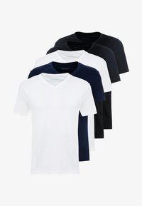 Pier One - 5 PACK - T-shirt basic - white/blue/black