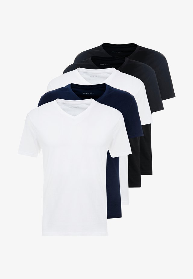 5 PACK - T-shirt - bas - white/blue/black