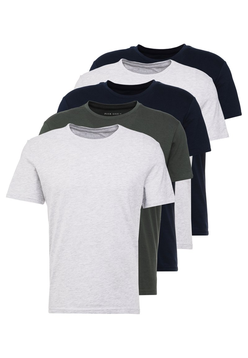 Pier One - 5 PACK - T-shirt basique - dark blue/grey/khaki