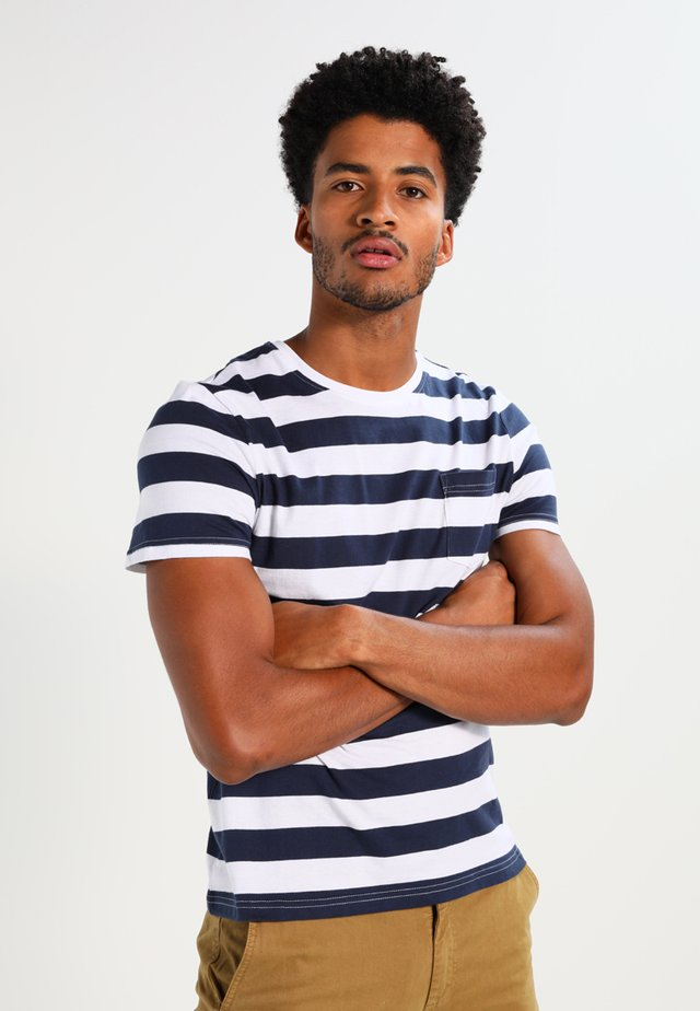 T-shirt z nadrukiem - dark blue/white