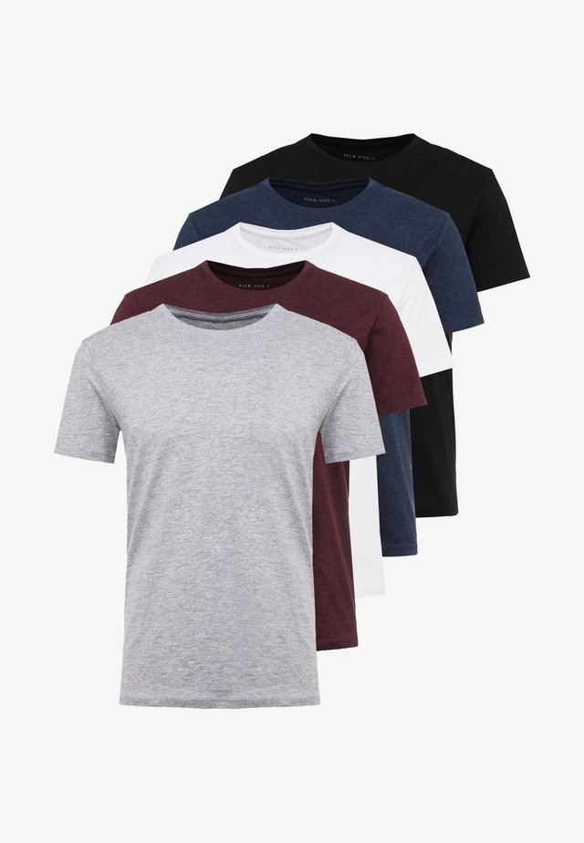 5 PACK - Basic T-shirt - mottled bordeaux/white