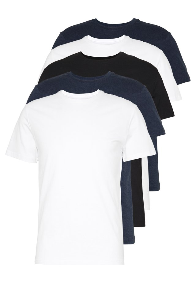 5 PACK - T-paita - black/white/blue