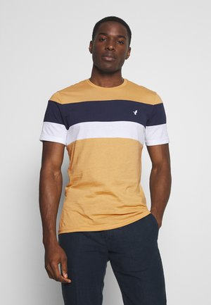 COLOR BLOCK TEE - Triko s potiskem - tan