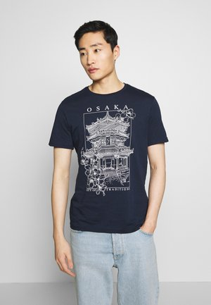 JAPAN TEMPLE TEE - Print T-shirt - dark blue