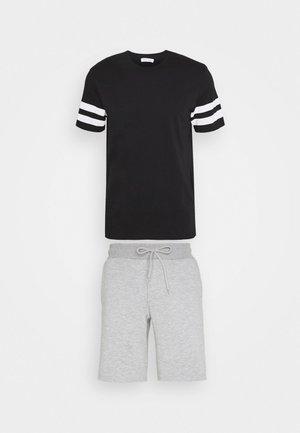 SET - Pantaloni sportivi - black, mottled grey