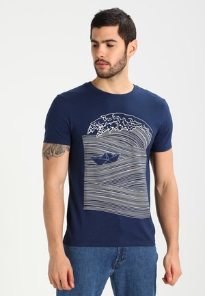 T-shirt z nadrukiem - dark blue/white