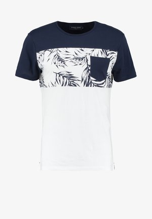 Print T-shirt - navy/white