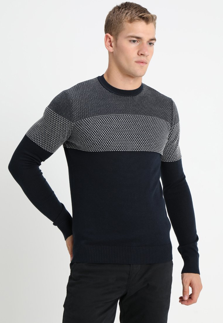 Pier One - MICRO JACQUARD JUMPER - Sweter - dark blue