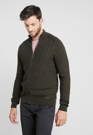 Cardigan - mottled dark green