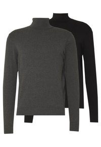 Pier One - BASIC TURTLENECK 2 PACK - Pullover - black/mottled dark grey - 0