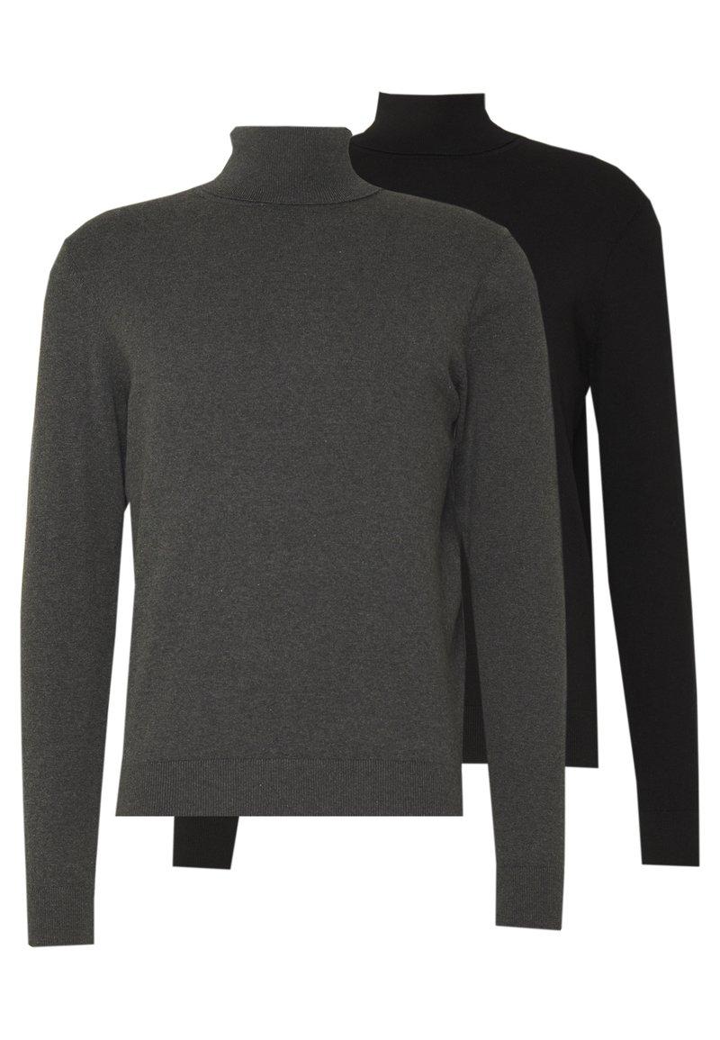Pier One - BASIC TURTLENECK 2 PACK - Pullover - black/mottled dark grey