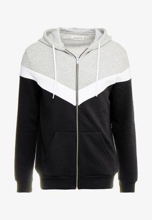 Mikina na zip - mottled grey/black