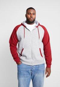 Pier One - Zip-up hoodie -  mottled grey bordeaux - 0
