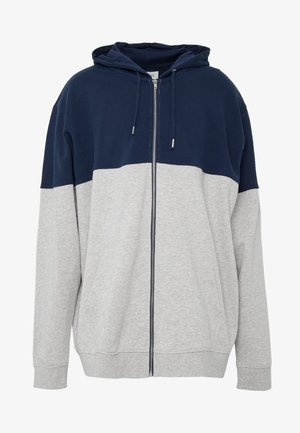 Zip-up hoodie - mottled grey/dark blue