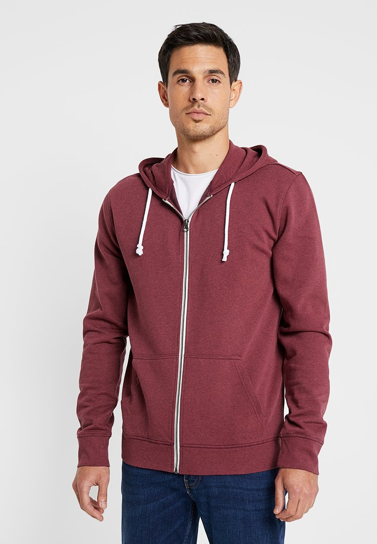 Pier One - Zip-up hoodie - mottled dark red
