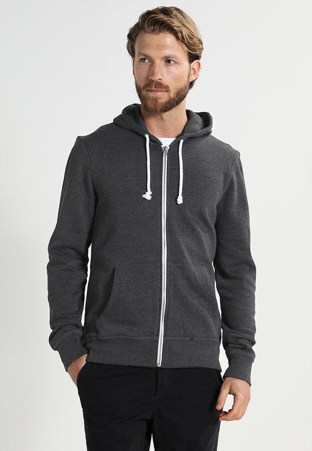 Zip-up hoodie - black melange