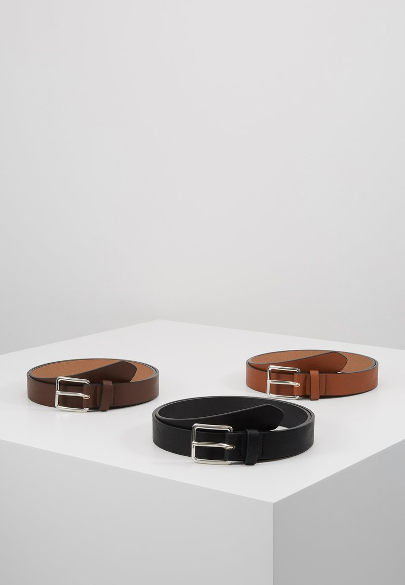 Pier One - 3 PACK - Belt - cognac/black/brown