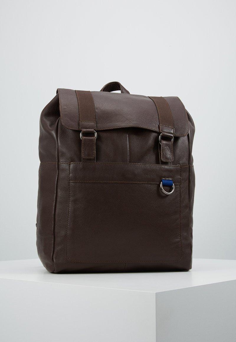 Pier One - LEATHER UNISEX - Rucksack - dark brown
