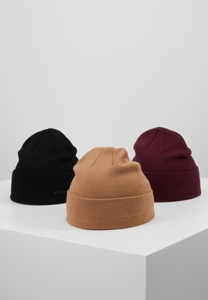 3 PACK - Bonnet - black/camel/bordeaux