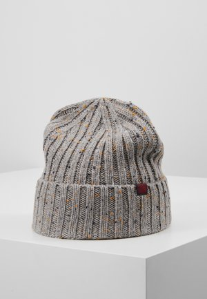 Beanie - light grey/dark blue/mustard yellow