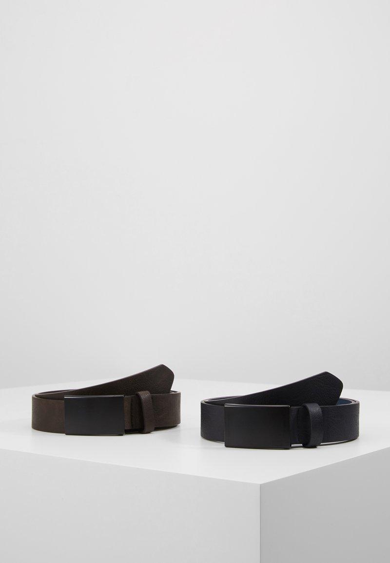 Pier One - UNISEX 2 PACK - Belt - dark blue/brown