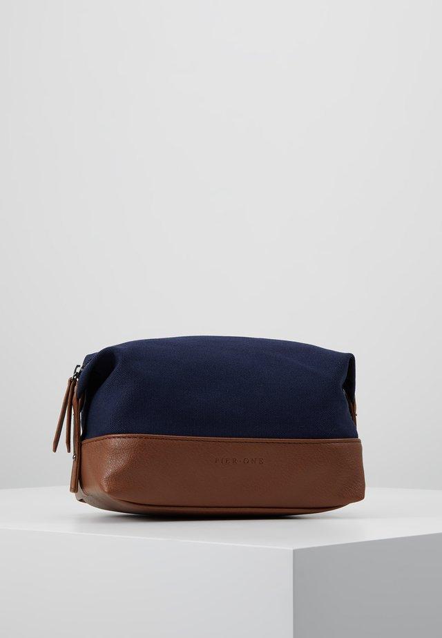 UNISEX - Wash bag - dark blue/cognac
