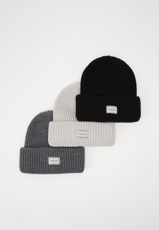 3 PACK - Mütze - offwhite/dark grey/black