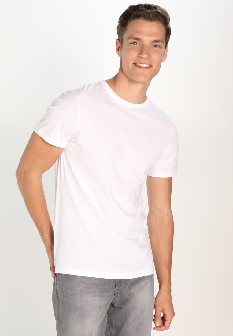 Pier One - 3 PACK - T-shirt basique - white/black/grey