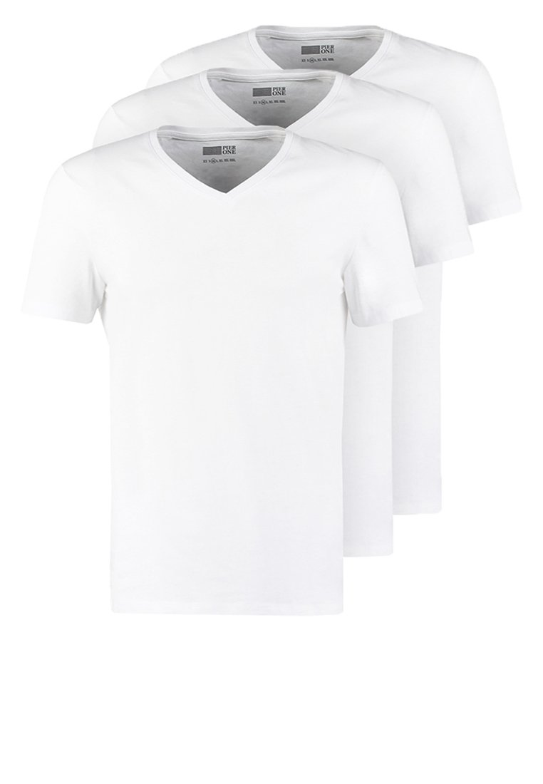 Pier One - 3 PACK - T-shirt - bas - white