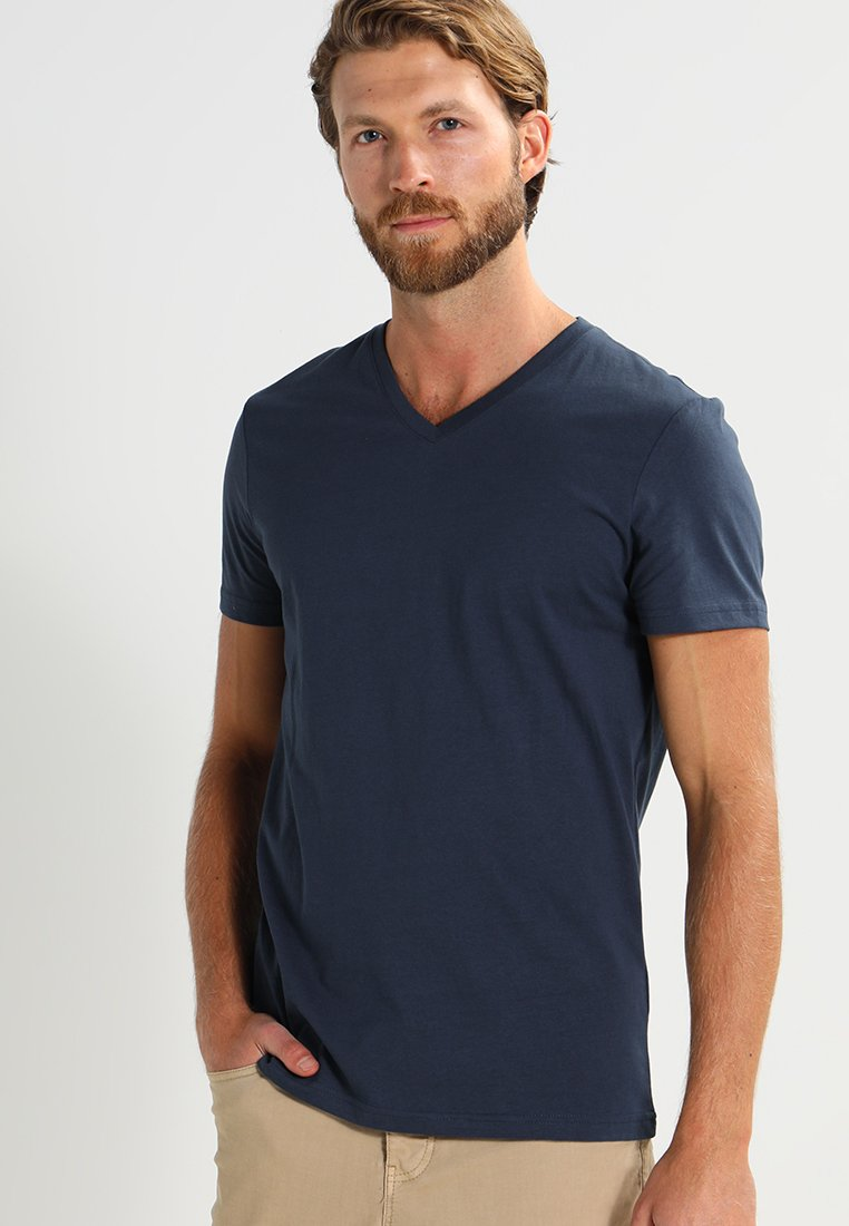 Pier One - 3 PACK - Basic T-shirt - dark blue