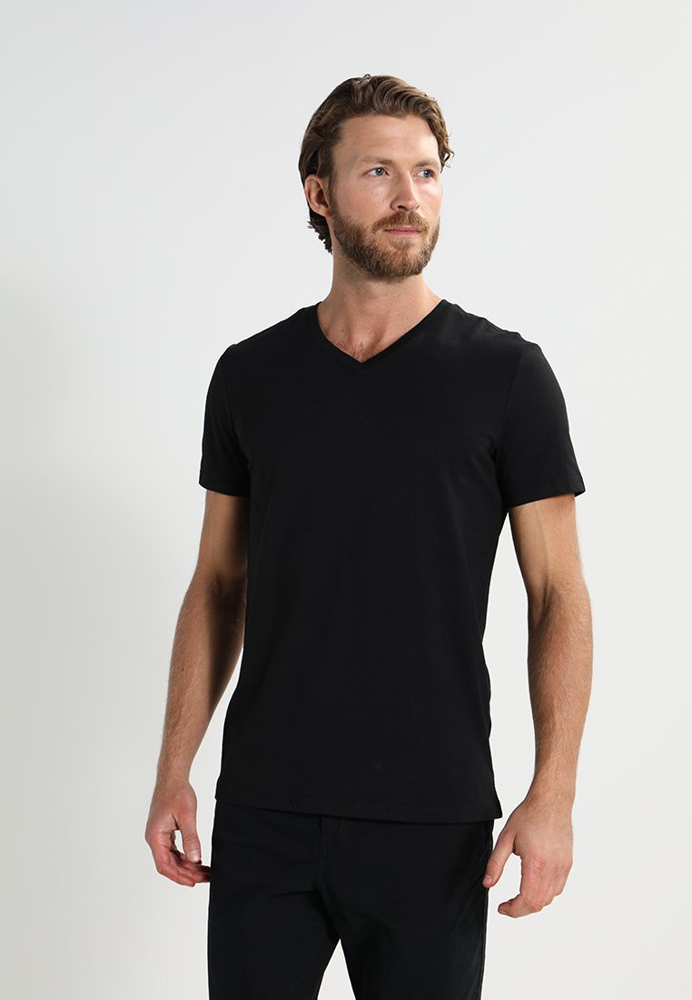 Pier One - 3 PACK - T-Shirt basic - black