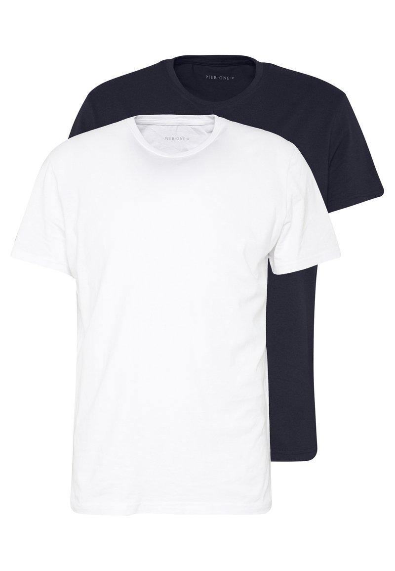 Pier One - 2 PACK - Jednoduché triko - white/dark blue