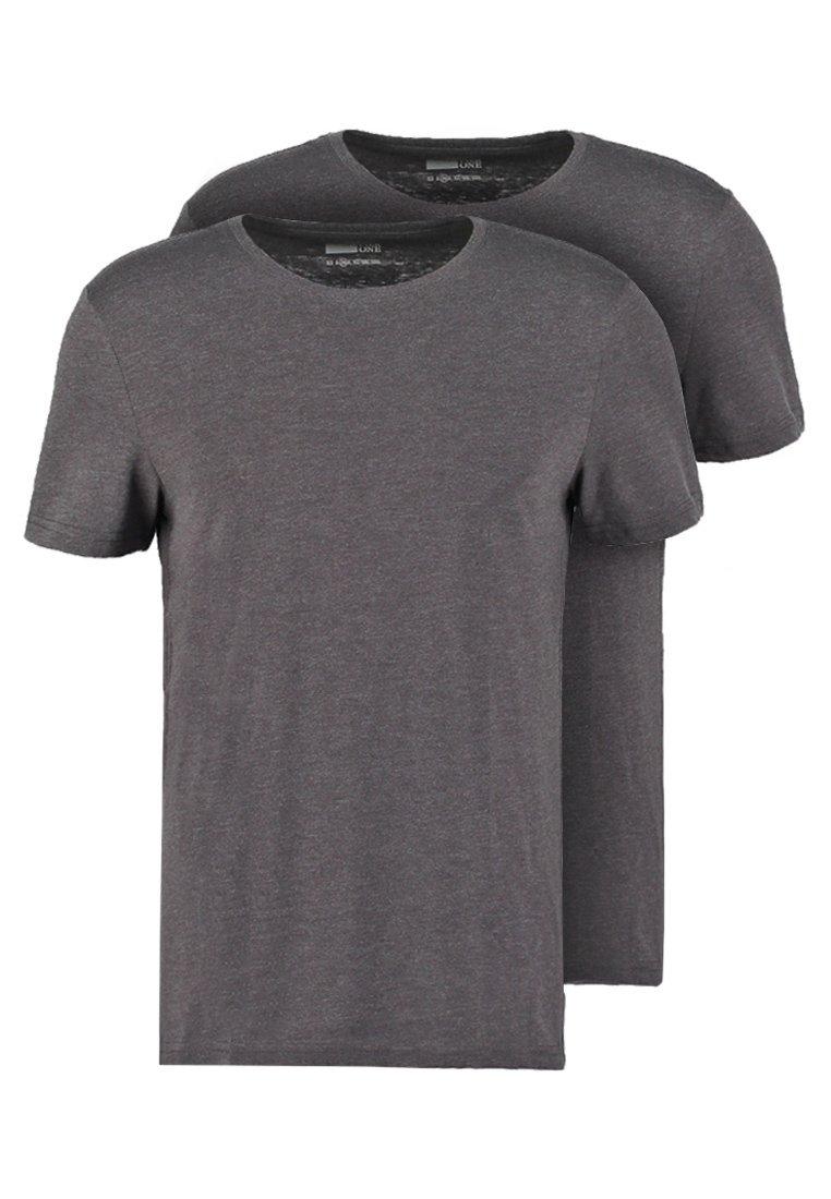 Pier One - 2 PACK - T-shirt basique - dark grey melange