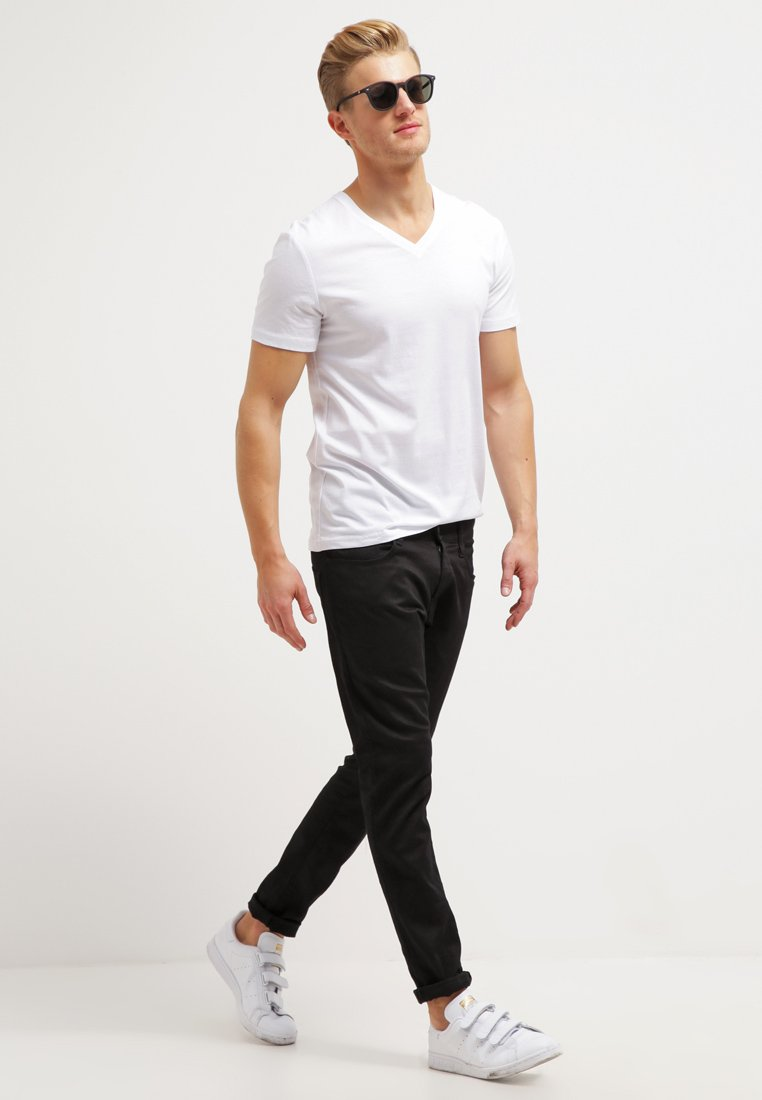 Pier One - 2 PACK - T-shirts - white/black