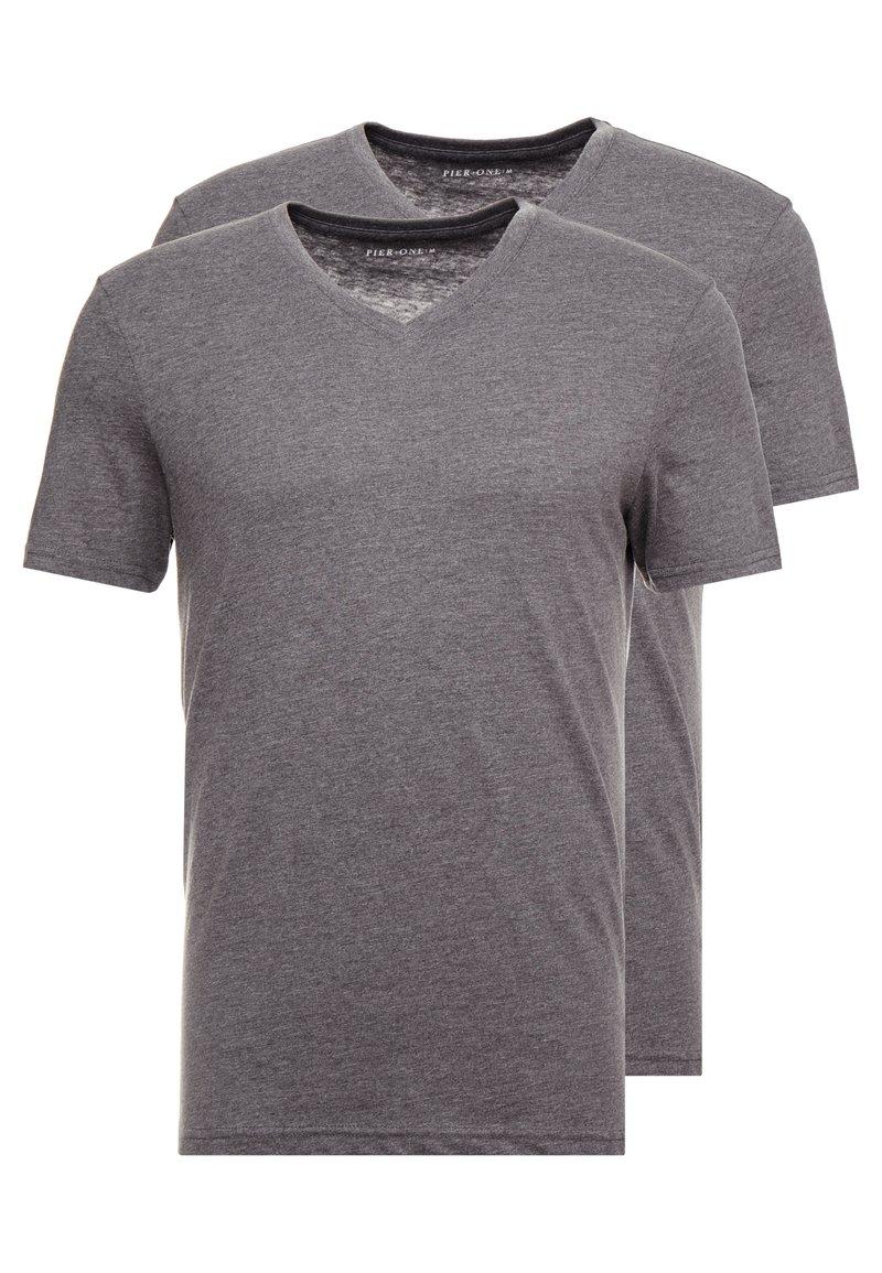 Pier One - 2 PACK - T-shirts basic - dark grey melange