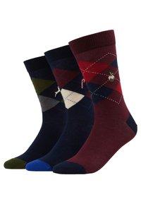 Pier One - 3 PACK - Ponožky - dark blue/dark red - 0