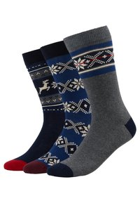 Pier One - 3 PACK - Ponožky - blue/grey - 0