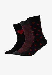 Pier One - 3 PACK - Ponožky - black/dark red - 1