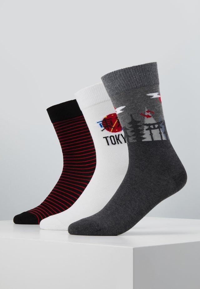 3 PACK - Socks - white/grey