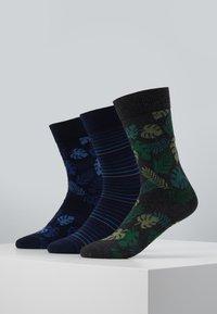 Pier One - 3 PACK - Ponožky - black/green - 0