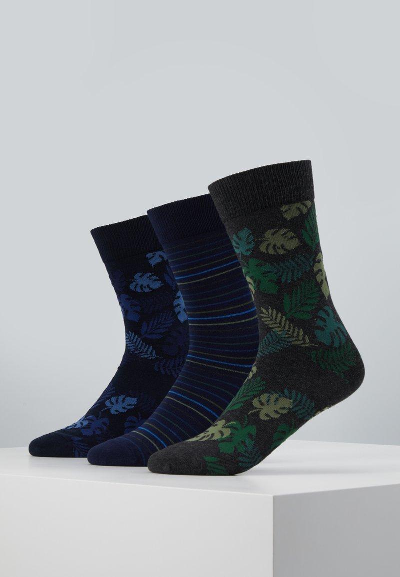 Pier One - 3 PACK - Ponožky - black/green