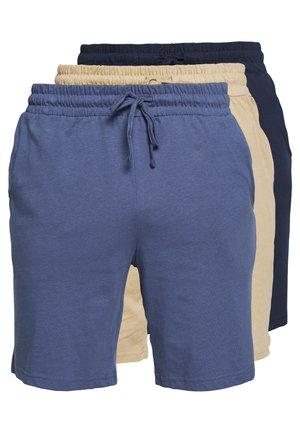 BASIC 3 PACK - Pyjamahousut/-shortsit - dark blue/blue/beige