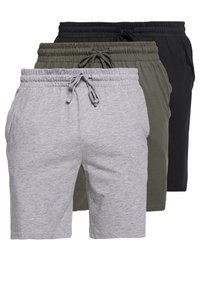 Pier One - BASIC 3 PACK - Pyjama bottoms - black/mottled grey - 0