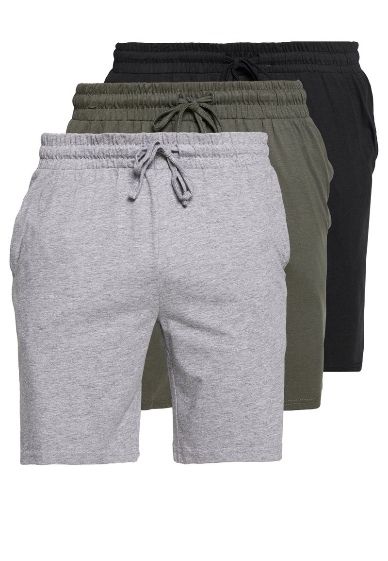 Pier One - BASIC 3 PACK - Pyjama bottoms - black/mottled grey