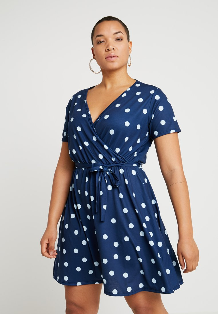 Pink Clove - WRAP DRESS - Jerseykleid - navy with light blue