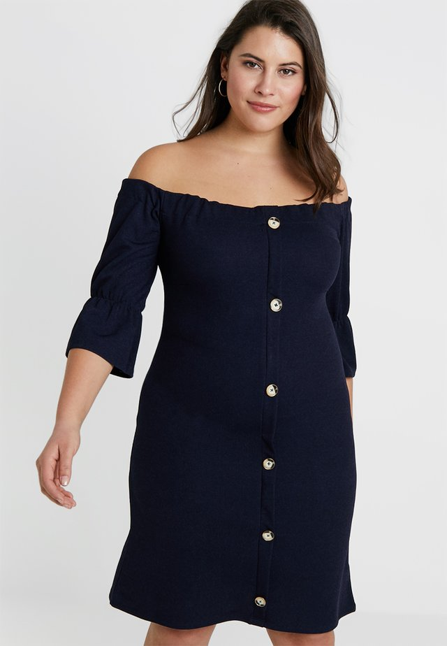 BUTTON BARDOT SKATER DRESS - Denní šaty - navy
