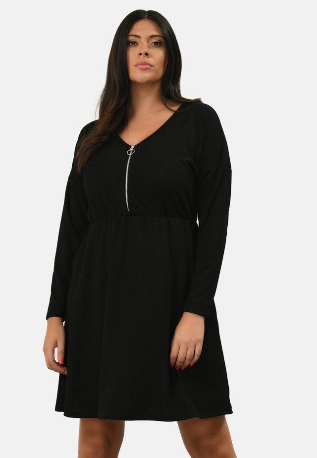 ZIP FRONT - Korte jurk - black